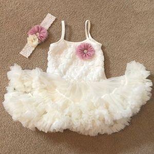 Baby girl tutu dress with headband size 2-3T